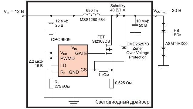 Повышающий светодиодный драйвер на базе CPC9909