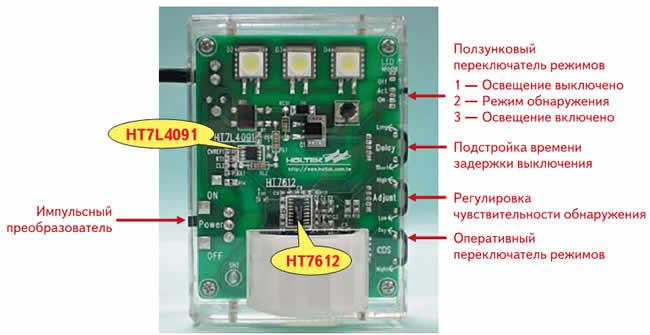 Конструкция прибора обнаружения Holtek