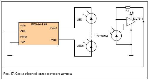 Рис. 17. Схема обратной связи светового датчика