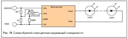 Рис. 19. Схема обратной связи датчика окружающей освещенности