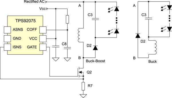 Простая схема подключения TPS92075