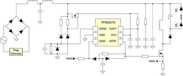Типовая реализация драйвера с питанием от сети переменного ток. DC-фильтр