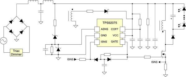 Типовая реализация драйвера инвертирующего преобразователя с применением резистивной Start-up и AUX конфигурации