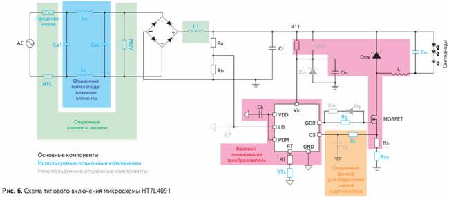 Схема типового включения микросхемы HT7L4091