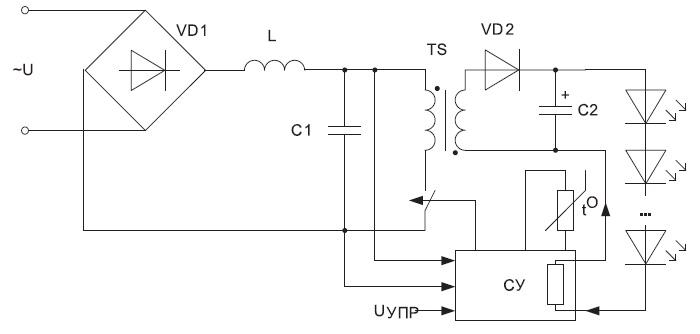 Схема одноступенчатого импульсного преобразователя