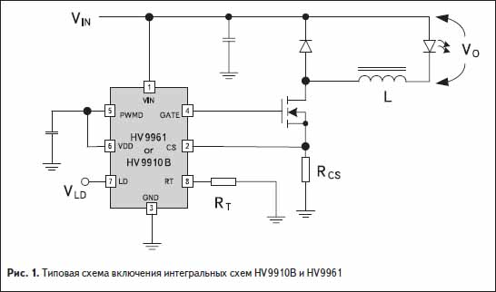 Типовая схема включения интегральных схем HV9910B и HV9961