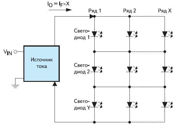 Последовательно-параллельное включение светодиодов с перекрестным соединением