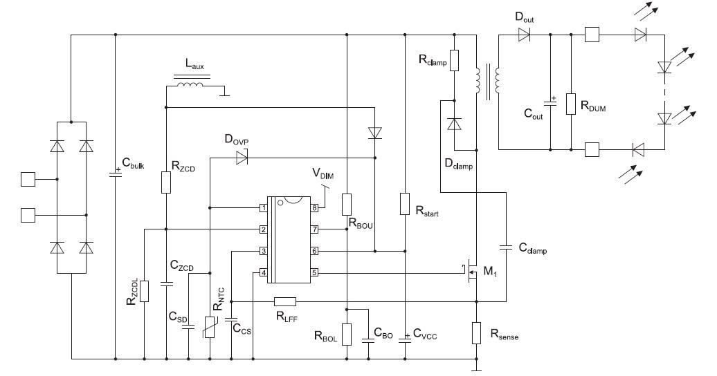 Схема включения контроллеров NCL30082/83
