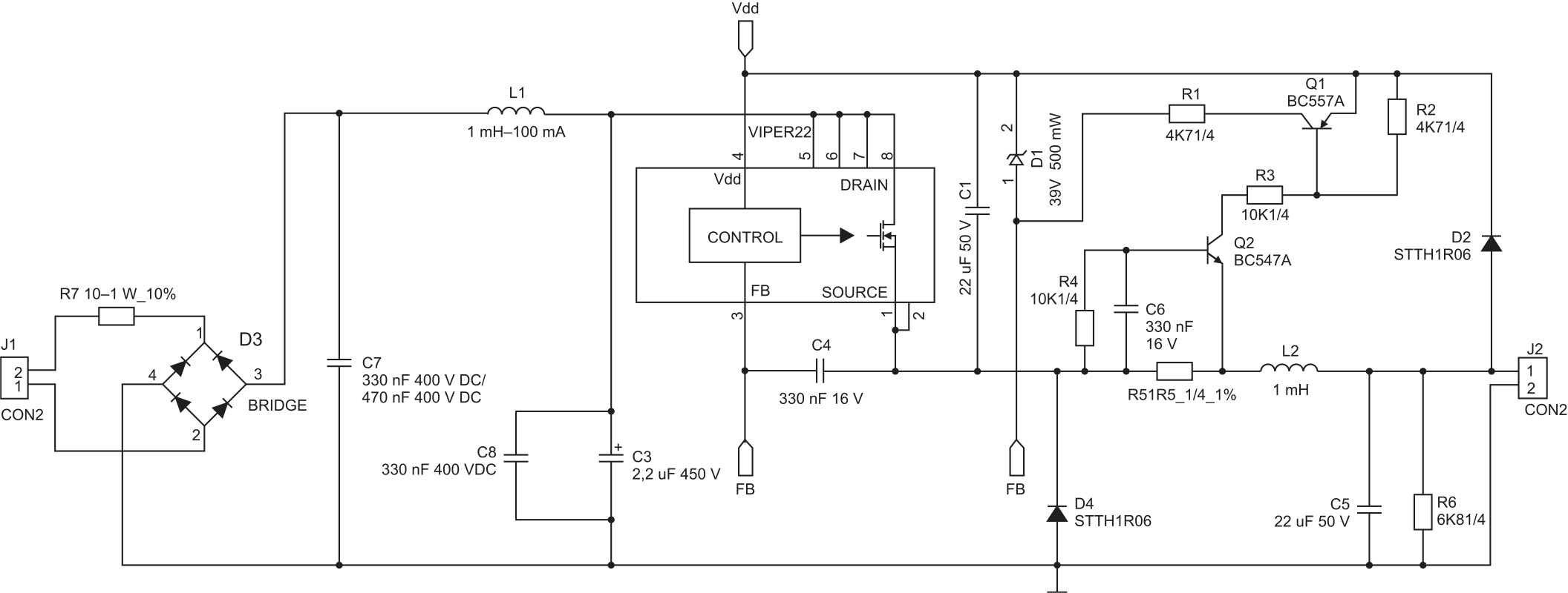 Принципиальная схема LED-драйвера на VIPer 22AS