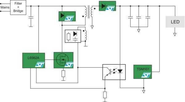 Типовая схема светодиодного драйвера на базе ККМ-контроллера