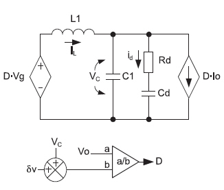 Усредненная модель квадратичного понижающего преобразователя c демпфированием входного каскада