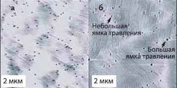 Данные АFМ, иллюстрирующие ямки травления в пленках GaN, выращенных