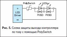 Схема защиты выхода контроллера по току с помощью PolySwitch