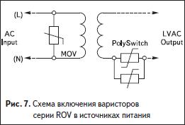 Схема включения варисторов серии ROV в источниках питания