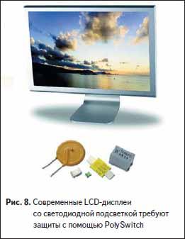 Современные LCD-дисплеи со светодиодной подсветкой требуют защиты с помощью PolySwitch