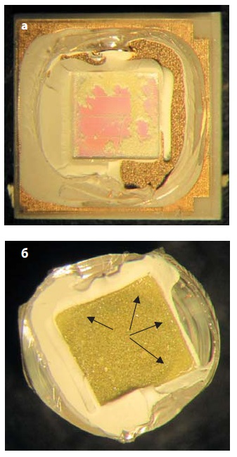 Светодиод LH351B соснятой линзой и люминофорным покрытием кристалла и «оттиск» кристалла наподнутрении отсоединенной линзы слюминофором