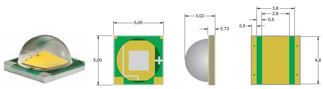 Внешний вид и габаритные размеры светодиода XM-L
