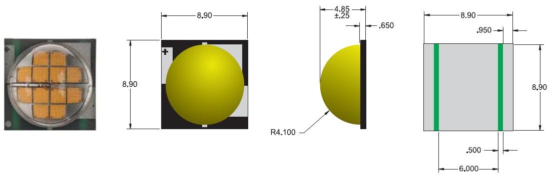 Внешний вид и габаритные размеры светодиода MT-G