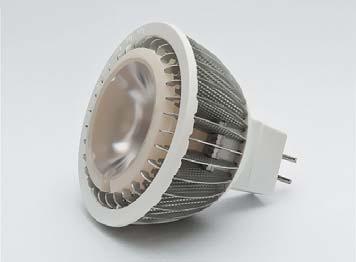 Вид лампы MR16 на светодиоде MT-G с линзой Carclo TIR 27°