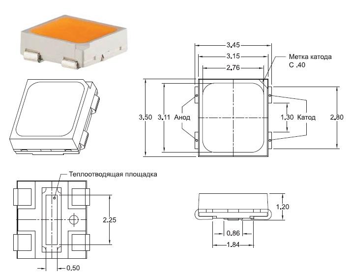 Внешний вид и габаритные размеры светодиода ML-E
