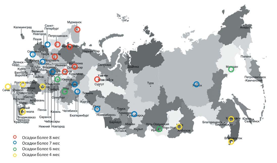 Продолжительность наличия осадков для различных городов на территории разных областей РФ
