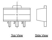 Внешний вид корпуса ТО-243АА (SOT-89) и расположение выводов микросхемы в нем