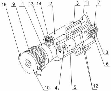 Общий вид ПНВ «Альфа-9022»: I— объектив, 2 — корпус прибора, 3 — окуляр, 4 — встроенный светодиодный ИК-осветитель, 5— корпус источника питания, 6— крышка, 7 — винт, 8— переключатель, 9— оправа объектива, 10— крышка объектива защитная, II— наглазник, 12 — кронштейн, 13 — патрон осушки, 14 — стекло смотровое, 15 — кнопка,