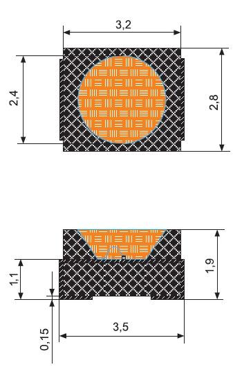 Схематическое изображение светодиода, габариты указаны в милиметрах