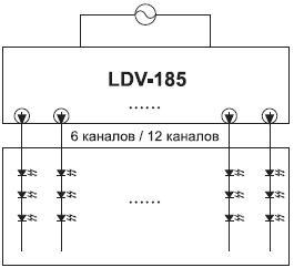 Схема подключения светодиодов с помощью ИП серии LDV-185