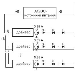Последовательно-параллельное подключение светодиодов с использованием светодиодных драйверов