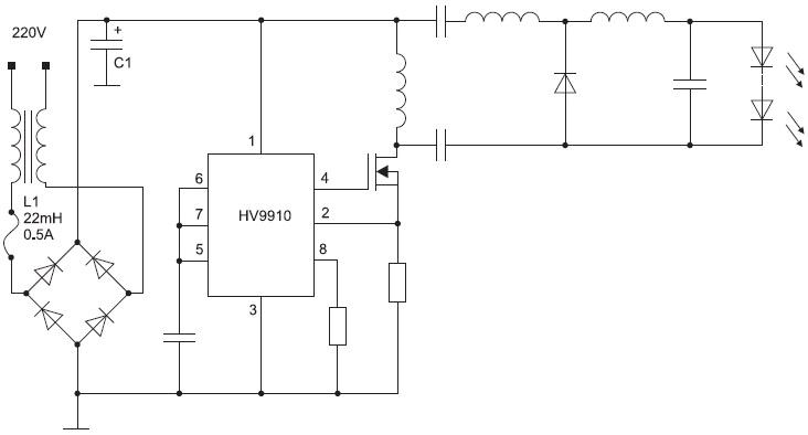 Схема светодиодного драйвера на основе микросхемы HV9910
