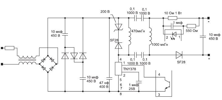 Схема импульсного источника питания на основе контроллера для обратноходовых преобразователей TNY378