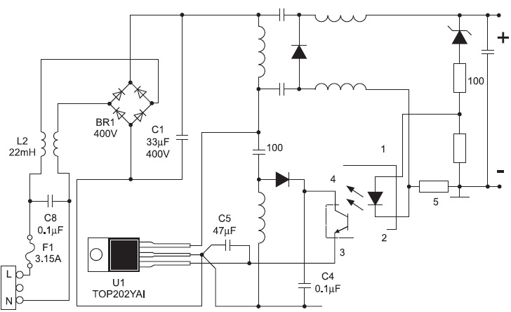 Схема импульсного источника питания на основе контроллера для обратноходовых преобразователей типа TOP202
