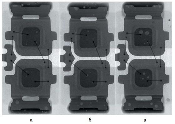 Рентгеновские снимки светодиодов, пасты 1-3