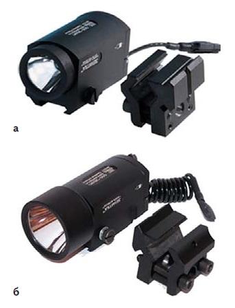 Подствольные фонари: а) 2П-КЛЕЩ; б) 2ДП-КЛЕЩ